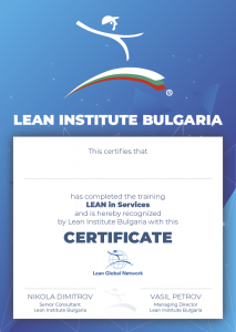 Certificate - Lean in Services - Lean Institute Bulgaria