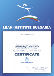 Certificate - Lean Six Sigma Yellow Belt - Lean Institute Bulgaria