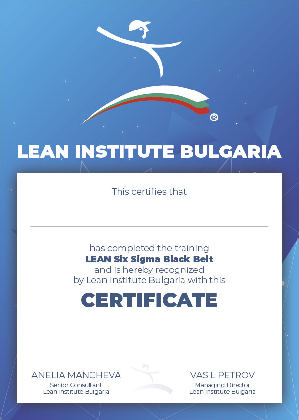 Certificate - Lean Six Sigma Black Belt - Lean Institute Bulgaria